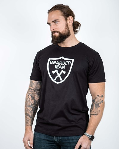 Crest Black/White T-Shirt - Bearded Man