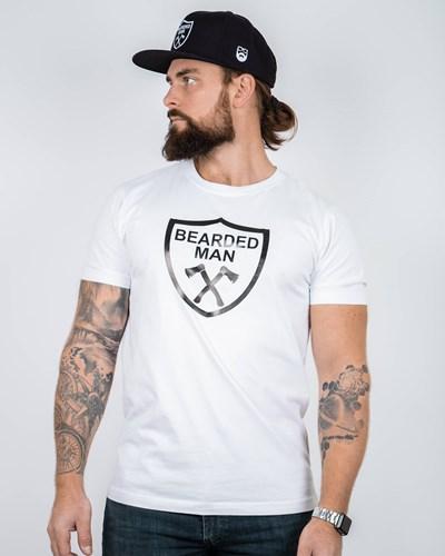 Crest White/Black T-Shirt - Bearded Man