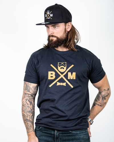 Cross Navy/Mustard T-Shirt - Bearded Man