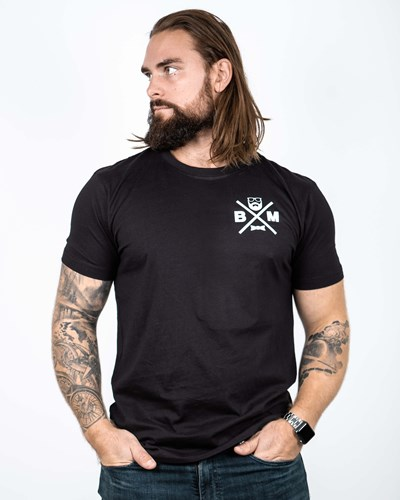 Cross Chest Black/White T-Shirt - Bearded Man