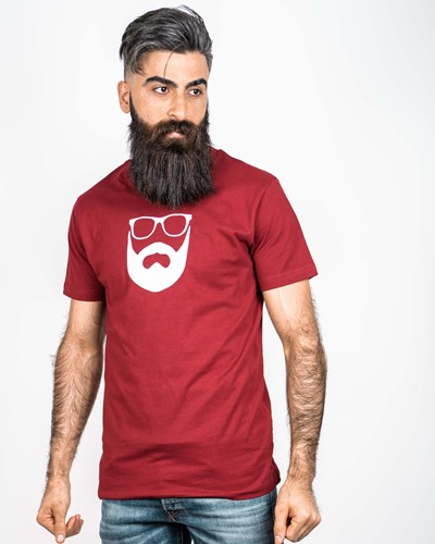 Logo Maroon/White T-Shirt - Bearded Man