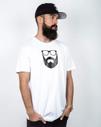 Logo White/Black T-Shirt - Bearded Man