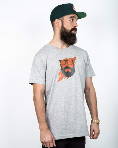 Scratch Grey/Orange T-Shirt - Bearded Man