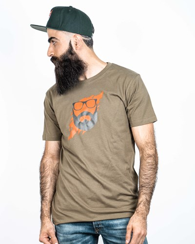 Scratch Olive/Orange T-Shirt - Bearded Man