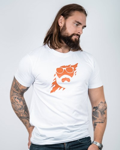 Scratch White/Orange T-Shirt - Bearded Man