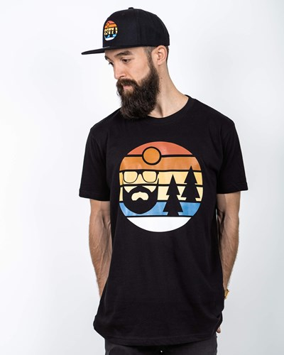 Sunset Black T-Shirt - Bearded Man