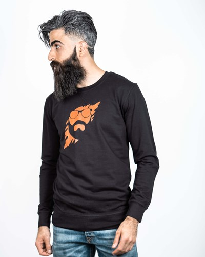 Scratch Black/Orange Sweatshirt - Bearded Man
