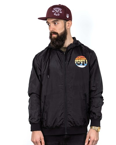 Sunset Black Windrunner Jacket - Bearded Man