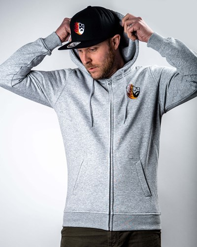 Beard Comet Grey Zip Hoodie - Bearded Man