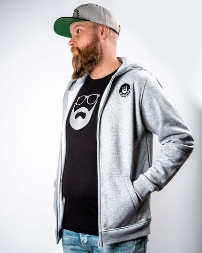 Beard Logo Patch Grey Zip Hoodie - Bearded Man