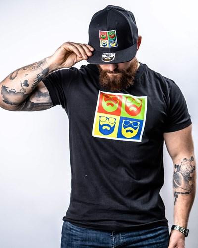 Art Logo Black T-Shirt - Bearded Man