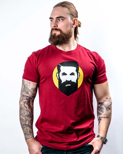 Sunshine Man Maroon T-Shirt - Bearded Man