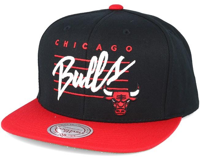 Chicago Bulls Cursive Script Logo Black Snapback - Mitchell   Ness ... 2abd7112e6e