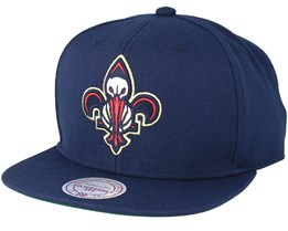 New Orleans Pelicans Wool Solid/Solid 2 Navy Snapback - Mitchell & Ness