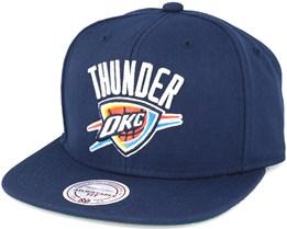 Oklahoma City Thunder Solid Team Colour Navy Snapback - Mitchell & Ness