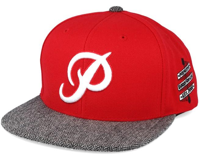 Classic P Red Snapback- Primitive Apparel cap - Hatstore.co.in 3570683deea1