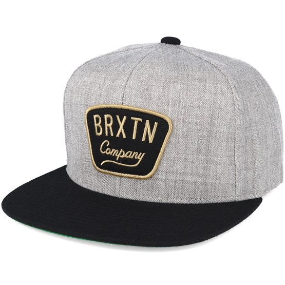 Keps Gaston Light Heather Grey/Black Snapback - Brixton - Grå Snapback