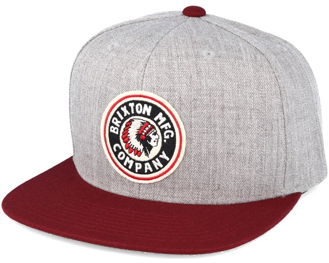 b2dc59b610a Rival Light Heather Grey  Burgundy Snapback - Brixton caps ...