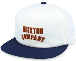 Woodburn Off White/Navy Snapback - Brixton