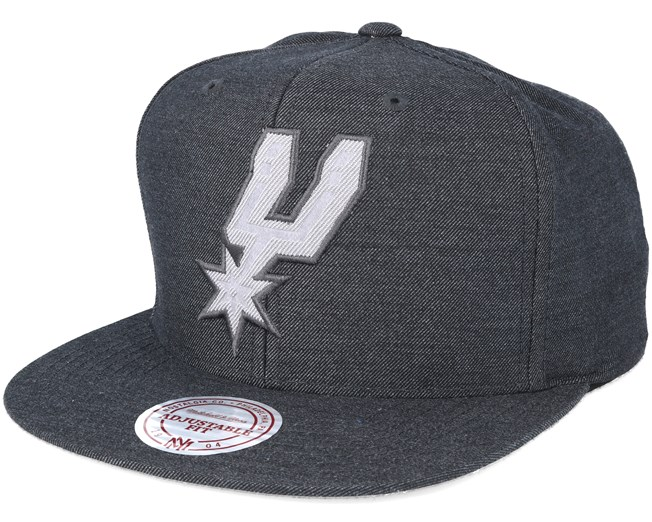 San Antonio Spurs Cut Heather Black Snapback - Mitchell   Ness caps ... ad5faac1ac74