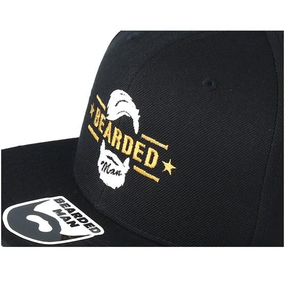 6351453ee1e Beard Logo Black Snapback - Bearded Man cap - Hatstore.co.in