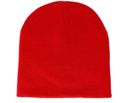 Knitted Short Classic Red Beanie - Beanie Basic