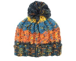 Kids Corkscrew Retro Blues Pom - Beanie Basic
