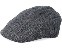 Maddy Wool  Mix 10 Grey Herringbone Flat Cap - MJM Hats