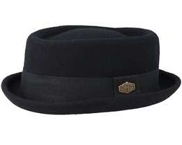 Popeye 2 Wool Mix Black Pork Pie - MJM Hats