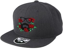 Rose Logo Dark Heather Grey Snapback - Bearded Man