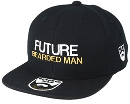 Kids Future Bearded Man Black Snapback - Bearded Man