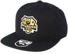 Logo Badge Black Snapback - Bearded Man