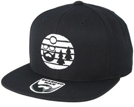 Sunset White Logo Black Snapback - Bearded Man