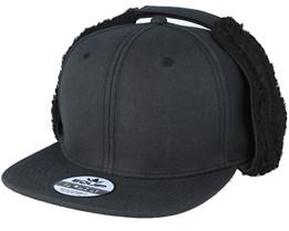 Blank Earflap Vintage Black Snapback - Equip