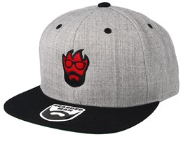 Flame Grey/Black Snapback - Bearded Man