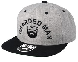 Half Circle Grey/Black Snapback - Bearded Man