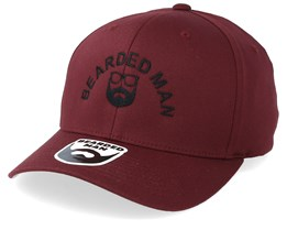 Half Circle Maroon Snapback - Bearded Man