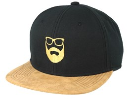Logo Black Suede Snapback - Bearded Man