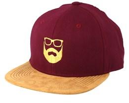 Logo Maroon/Suede Snapback - Bearded Man