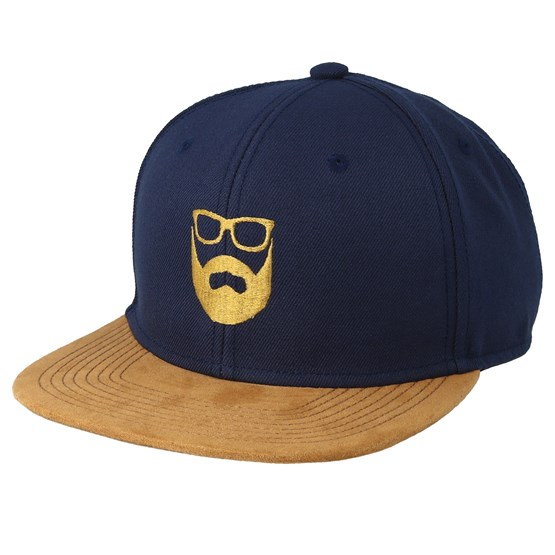 Bearded Man Keps Logo Navy/Suede Snapback - Bearded Man - Blå Snapback
