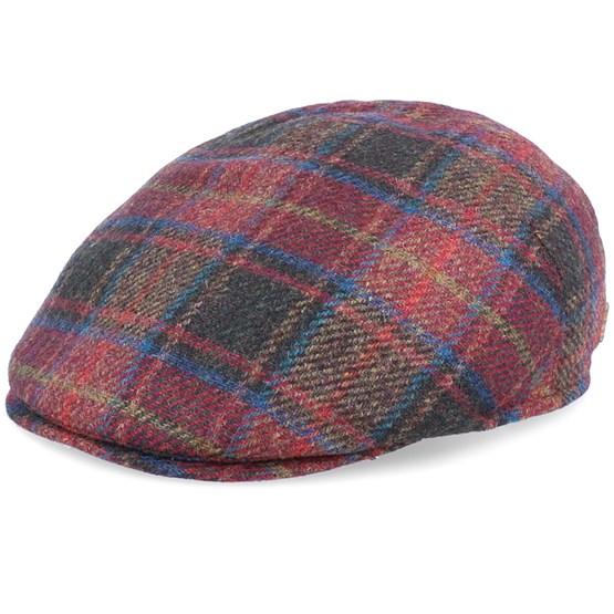 Keps Matt Virgin Wool Multi Red Flat Cap - Mayser - Multi Flat Caps