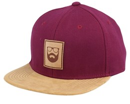 Logo Leather Patch Maroon/Suede Snapback - Bearded Man