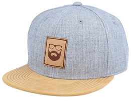 Logo Leather Patch Grey/Suede Snapback - Bearded Man
