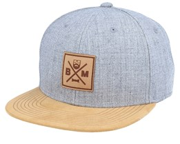 BM Cross Leather Patch Grey/Suede Snapback - Bearded Man