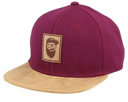 Cap Man Patch Maroon/Suede Snapback - Bearded Man
