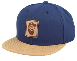 Cap Man Patch Navy/Suede Snapback - Bearded Man