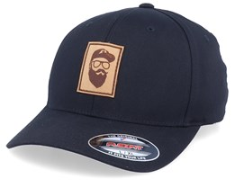 Cap Man Leather Patch Black Flexfit - Bearded Man