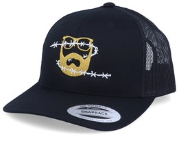 Wire Logo Black Trucker - Bearded Man