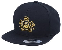 Golden Crest Black/Gold Snapback - Bearded Man