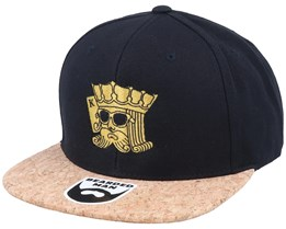 King Of Beards Black/Cork Snapback - Bearded Man